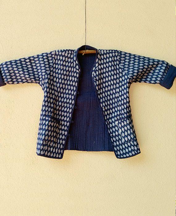 Indigo Navy Blue Hand Block Printed Quilted Jacket