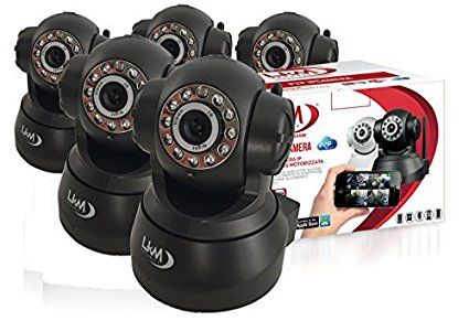 Pack 5X Telecamera LKM® IP Camera Videosorveglianza Wireless Wifi Motorizzata Pan Tilt Interno colore Nero Connettore I/O P2P QRCode