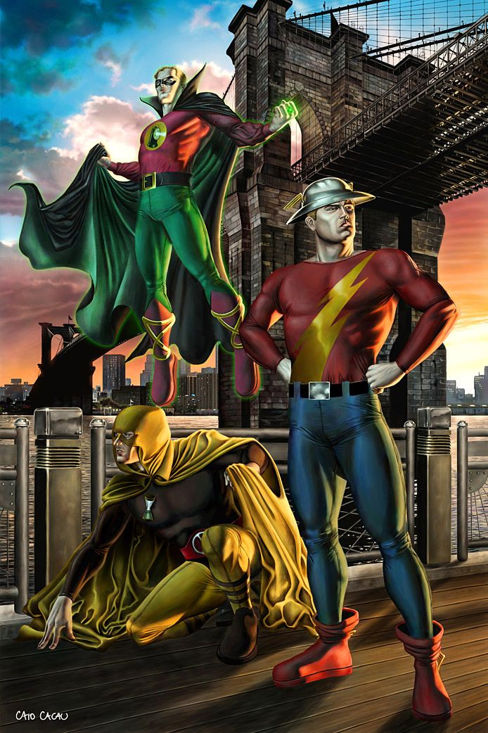 Justice Society of America by ~caiocacau on deviantART; Hourman, The Flash; Alan, Jay, Rex