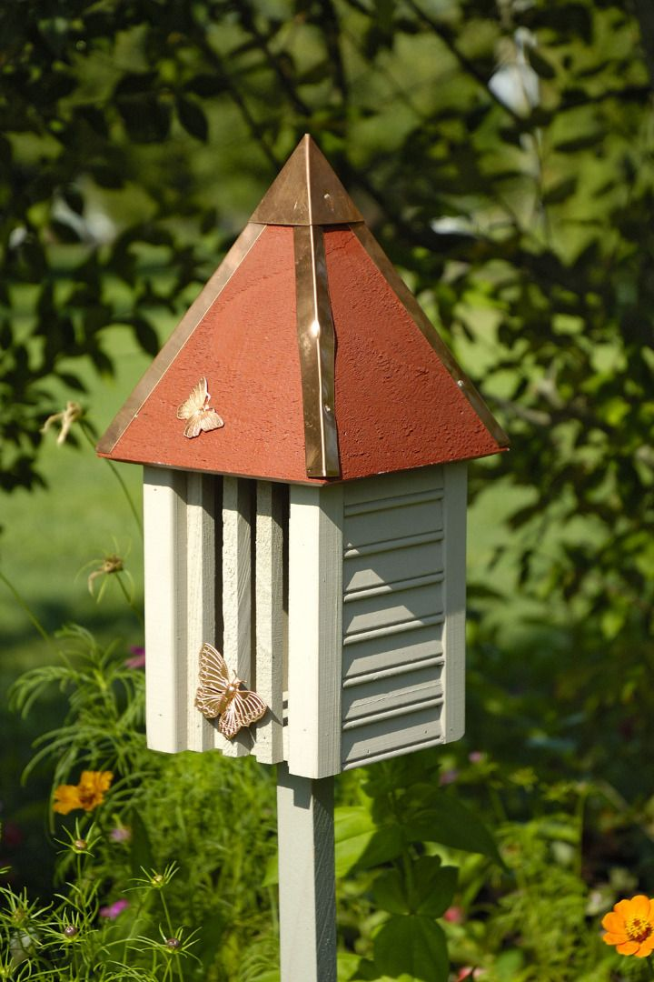 This Butterfly House Is Offered In Yellow With A Solid Copper Roof Or Smoke Grey Celery Redwood White Pink Turq Bird House Butterfly House Bird House Kits