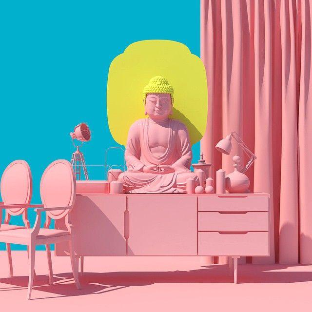Sol Lee mejor conocido como Venusmansion es un artista coreano que con ayuda del 3D crea coloridas imágenes bastante atractivas para el ojo que viven en la frontera de lo surreal, lo pop y lo kitsch. Les recomiendo que lo sigan a través de Instagram.Venusmansion