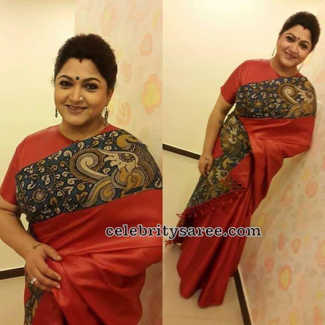 Kushboo Red Kalamkari Saree - Saree Blouse Patterns