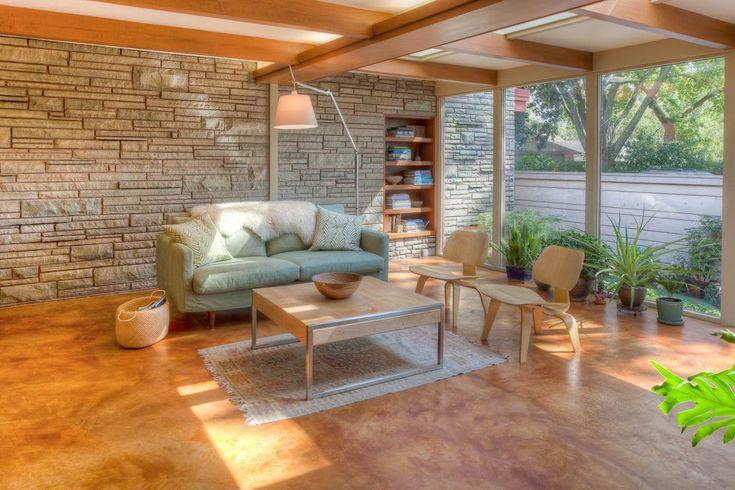Modern pot plants family room midcentury with mid-century modern built-in shelves glass wall