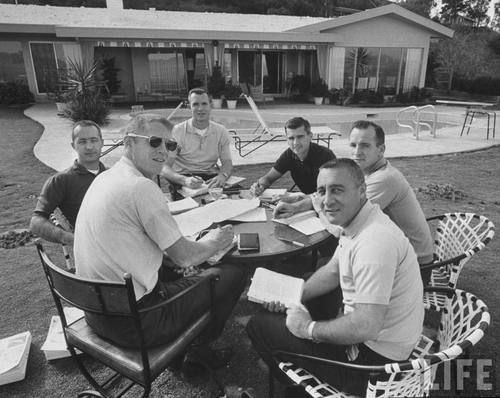 Astronauts (foreground, left) Rusty Schweickart, Jim McDivitt, Dave Scott, Roger Chaffee, Ed White  and (foreground, right) Gus Grissom.