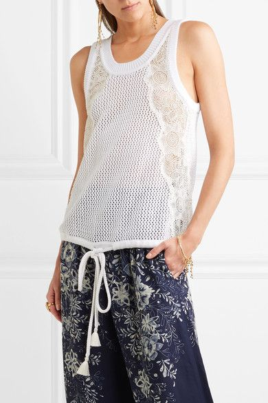 White cotton, cream lace Slips on 100% cotton; trim1: 80% cotton, 20% polyester; trim2: 100% polyester Dry clean Designer color: Optic White