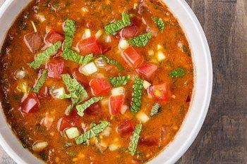 Gochujang Gazpacho-recipe image / Photo by Chelsea Kyle, food styling by Rhoda Boone
