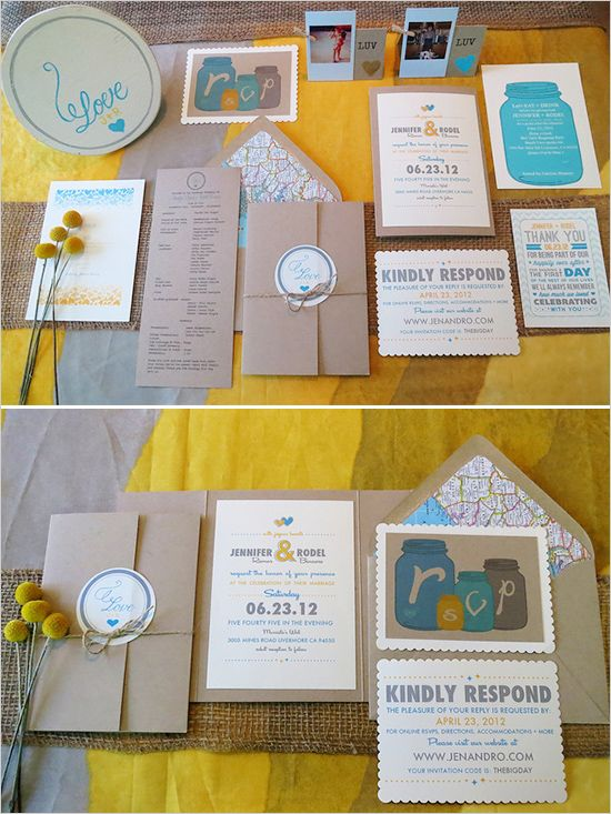 Blue and yellow wedding invitation suite.