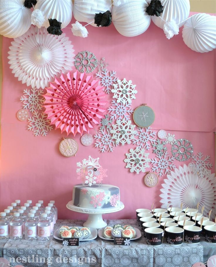 Inspiration - pink snowflake party design Nestling: Snowflake Party Reveal