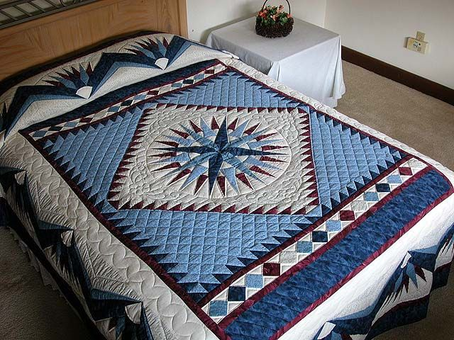 Mariners Compass Quilt -- marvelous specially made Amish Quilts from Lancaster (hs735)