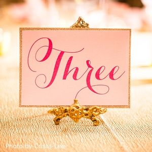 Elegant Pink Wedding Table Number Glitter by Pink Umbrella Invites. Photo by Crista-Lee Photgraphy