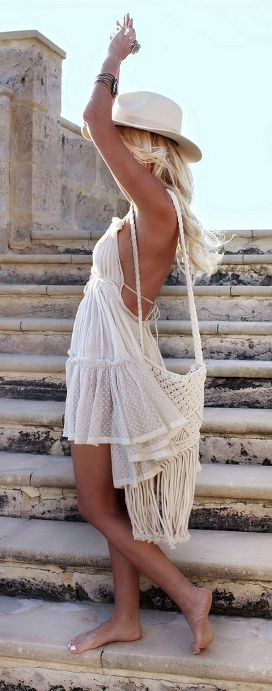Modern hippie halter top romper for an American modern hippie flash. FOLLOW > https://www.pinterest.com/happygolicky/the-best-boho-chic-fashion-bohemian-jewelry-gypsy-/ NOW for the BEST Bohemian fashion &  carefree lifestyle trends.