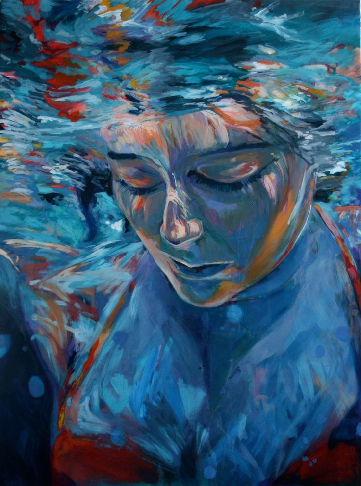 Grace .  Art. Original Underwater Painting .  Home & Living Decor // 30 x 40