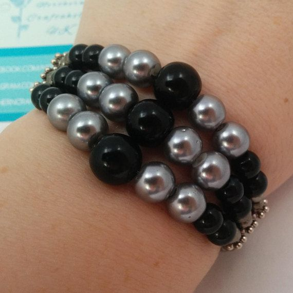 Elasticated bracelet black silver pearl beads czech glass