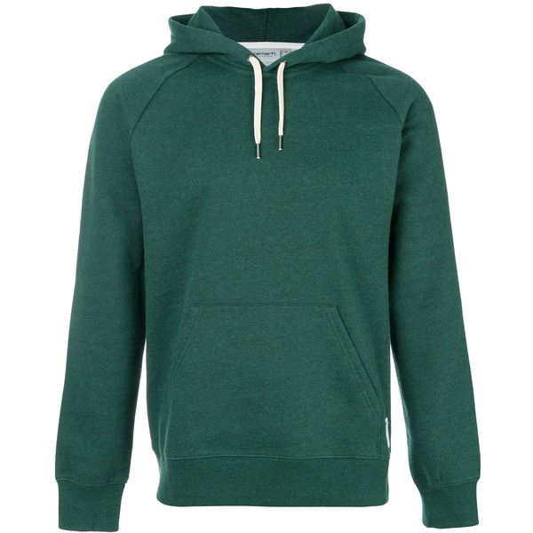 Carhartt plain hoodie ($80) ❤ liked on Polyvore featuring men's fashion, men's clothing, men's hoodies, green, mens hoodies and mens sweatshirts and hoodies