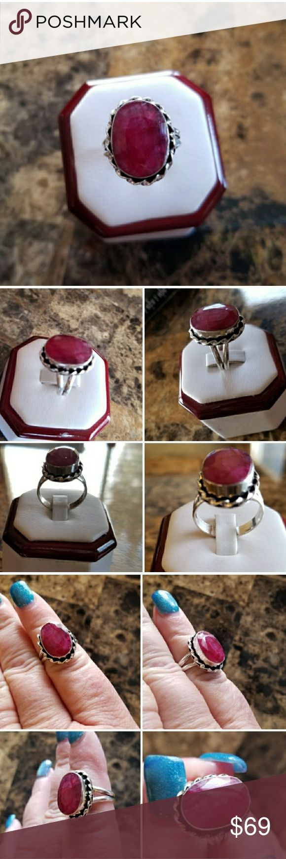 Genuine 6ct Natural Ruby Ring Size 8 Such a deep, beautiful color!! Set in 925 stamped Solid Sterling Silver. Please see all pictures for more detail and measurement. Brand New. Never Worn. WHOLESALE Prices Always!! Jewelry Rings