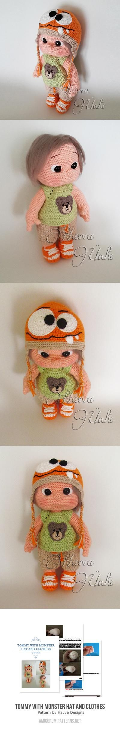 Tommy With Monster Hat And Clothes Amigurumi Pattern