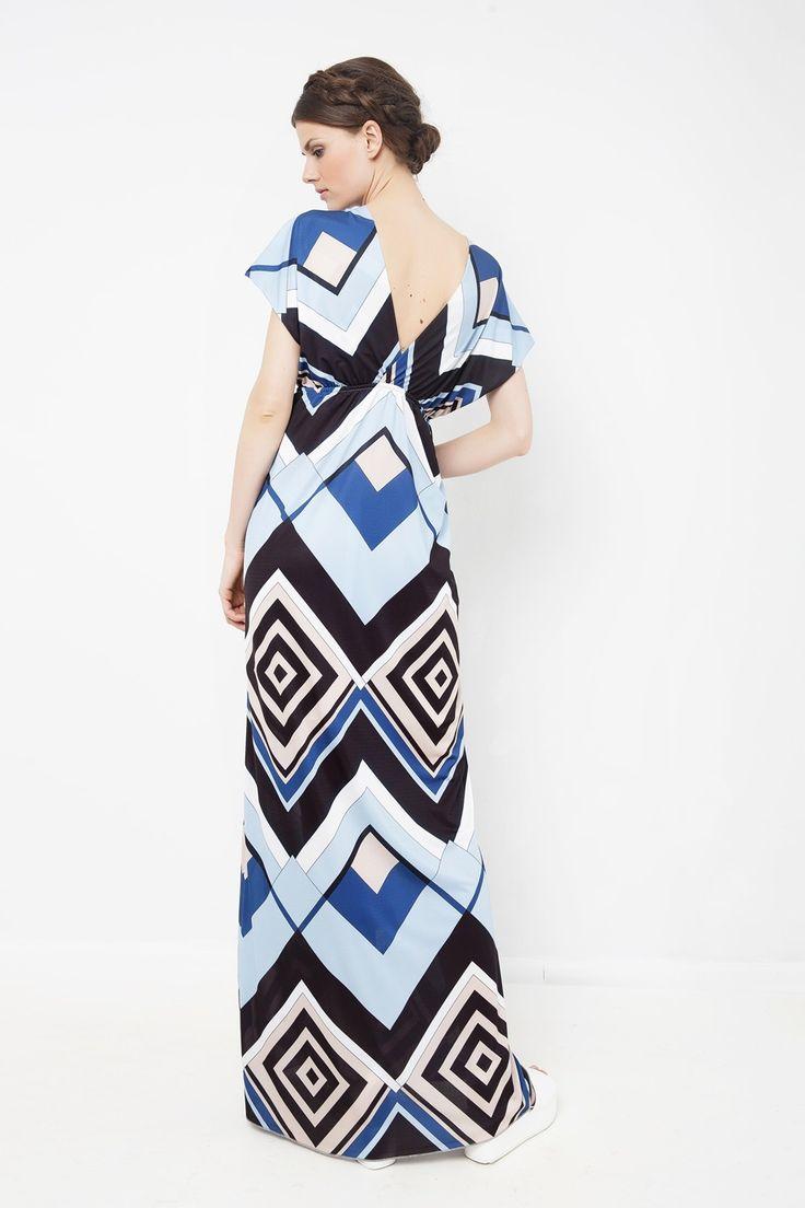 Φόρεμα μάξι κρουαζέ με V άνοιγμα στην πλάτη και γεωμετρικά σχήματα