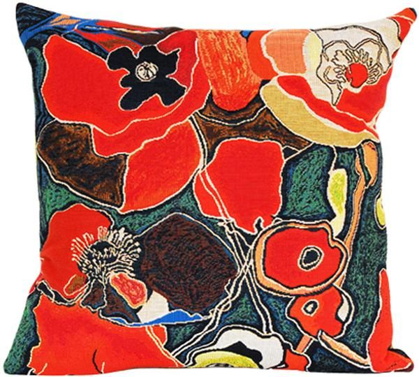 Woven in France History: Pavots, or Poppies is a French woven jacquard cushion cover by contemporary French artist, Tal Waldman. It is an excerpt from her Le Ja