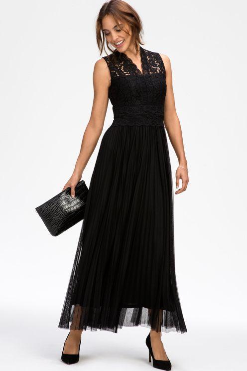 Ellos Collection Lang kjole med blonde og plissering