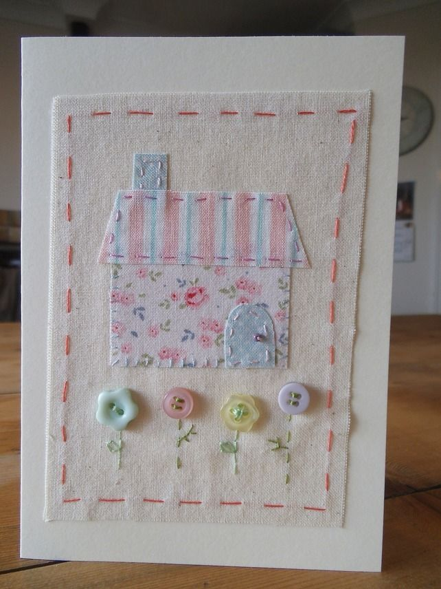 Little Stitched House Blank card