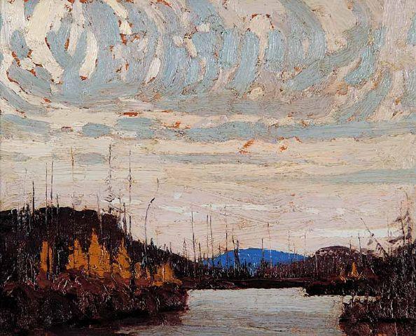 Tom Thomson Catalogue Raisonné | Dawn on Round Lake [Kawawaymog Lake], Fall 1915 (1915.116) | Catalogue entry