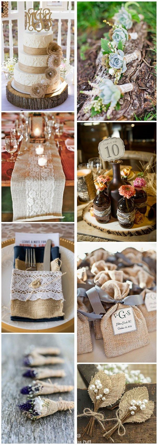 Rustic country burlap and lace wedding ideas #weddings #weddingideas