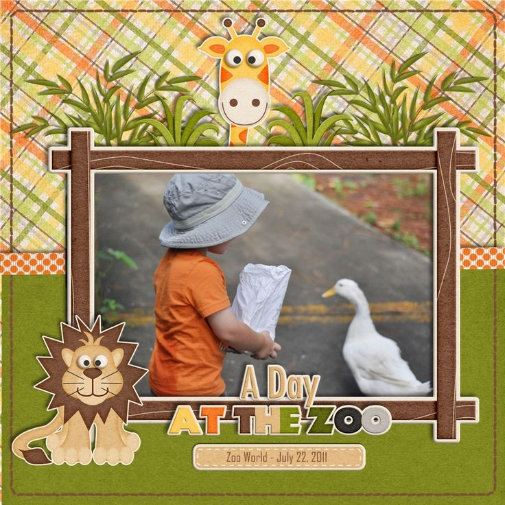 A Day at the Zoo #simple #scrapbook #layout #green #yellow #kids