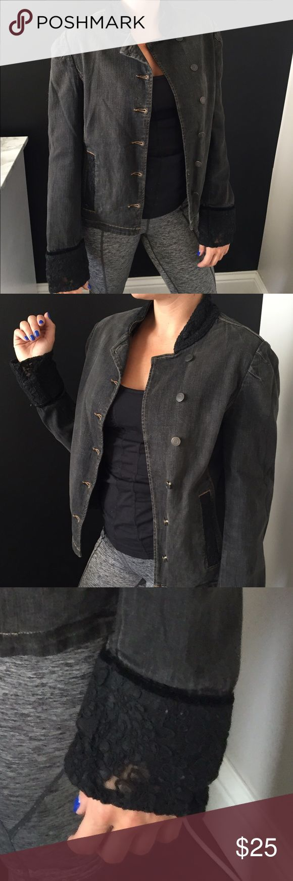 Black denim jacket with lace detailing Black denim jacket with black lace detailing on collar and bottom of sleeves.  Modern military cut jacket with buttons down the front. Express Jackets & Coats
