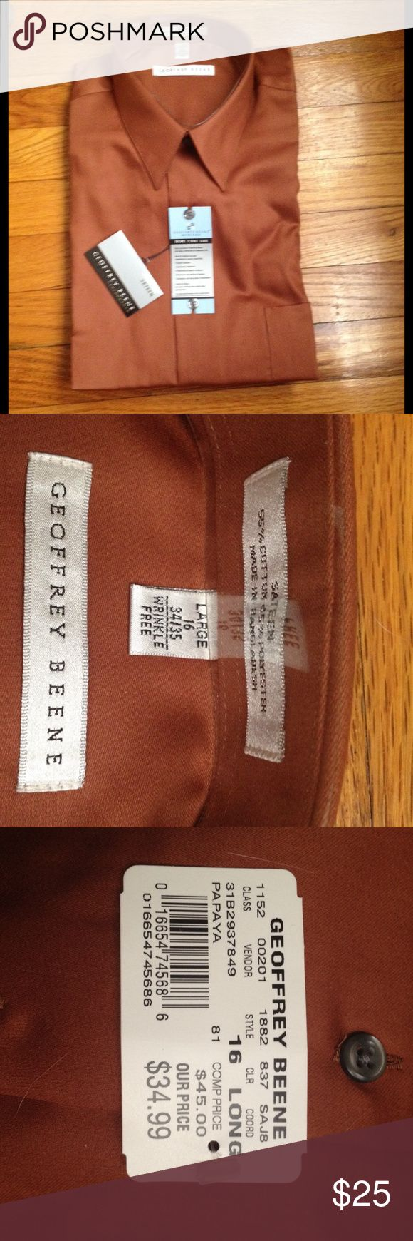 NWT Geoffrey Beene Wrinkle Free Sateen shirt 16L Beautiful Geoffrey Beene NWT wrinkle free sateen long sleeve shirt.  Cooper brown color. Large 16 34/35 long. New with a bag. Geoffrey Beene Shirts Dress Shirts