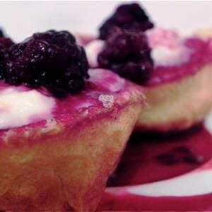 Pancake Cups  -  The one thing we like better than the idea of #pancake cups, is the idea of filling them with lemon ricotta & fresh #blackberry syrup! From Food52, found at www.edamam.com.
