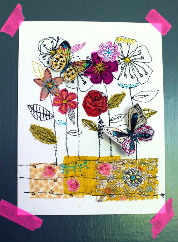 The Meadow mixed media stitched original art by AmandaWoodDesigns, £24.00