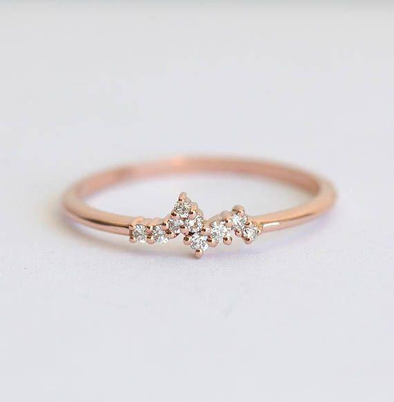 Mini bague diamant petite bague bague en diamant minuscule