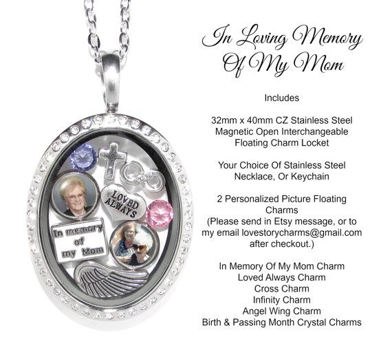 22 best memorial lockets images on pinterest lockets rockets mom memorial sympathy personalized stainless steel floating charms locket loss of mother parent memory necklace jewelry photo aloadofball Gallery