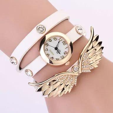 relógio asas strass couro branco luxo feminino frete grátis