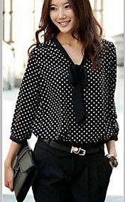 Women's V Neck Cute Chiffon Polka Dots Long Sleeve Shirt