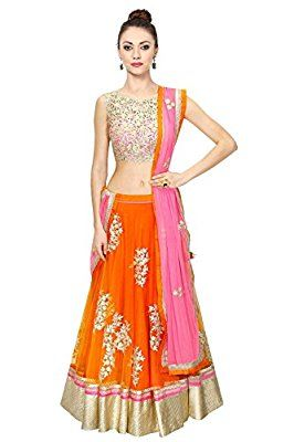 Z Fashion Women's Banglory Silk Lehenga Choli (ZF-L 155_Free Size_orange)