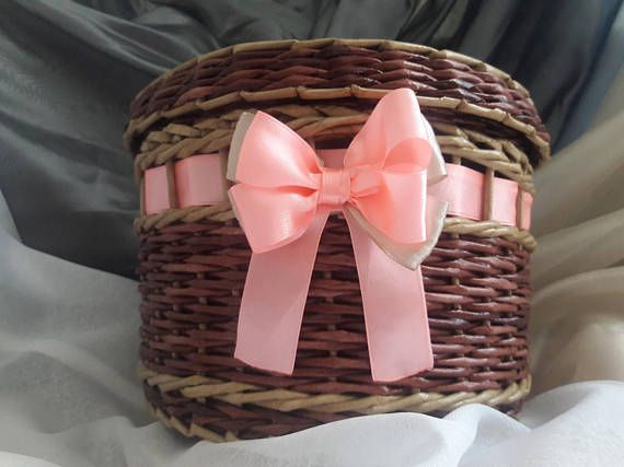 Fairy basket Wicker storage basket with lid and pink ribbon Eco-friendly Fairy Jewelry box Cosmetic Gift basket