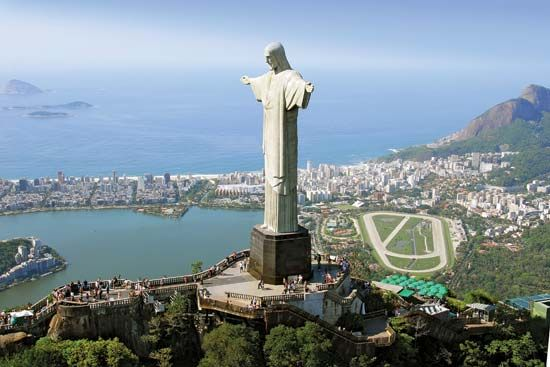 Colossal statue of Jesus Christ at the summit of Mount Corcovado, Rio de Janeiro, southeastern Brazil. It was completed in 1931 and stands 98 feet (30 metres) tall, its horizontally...