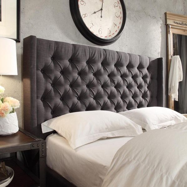 naples wingback button tufted linen fabric queen size headboard by inspire q artisan by inspire q - Tufted Bed Frame King