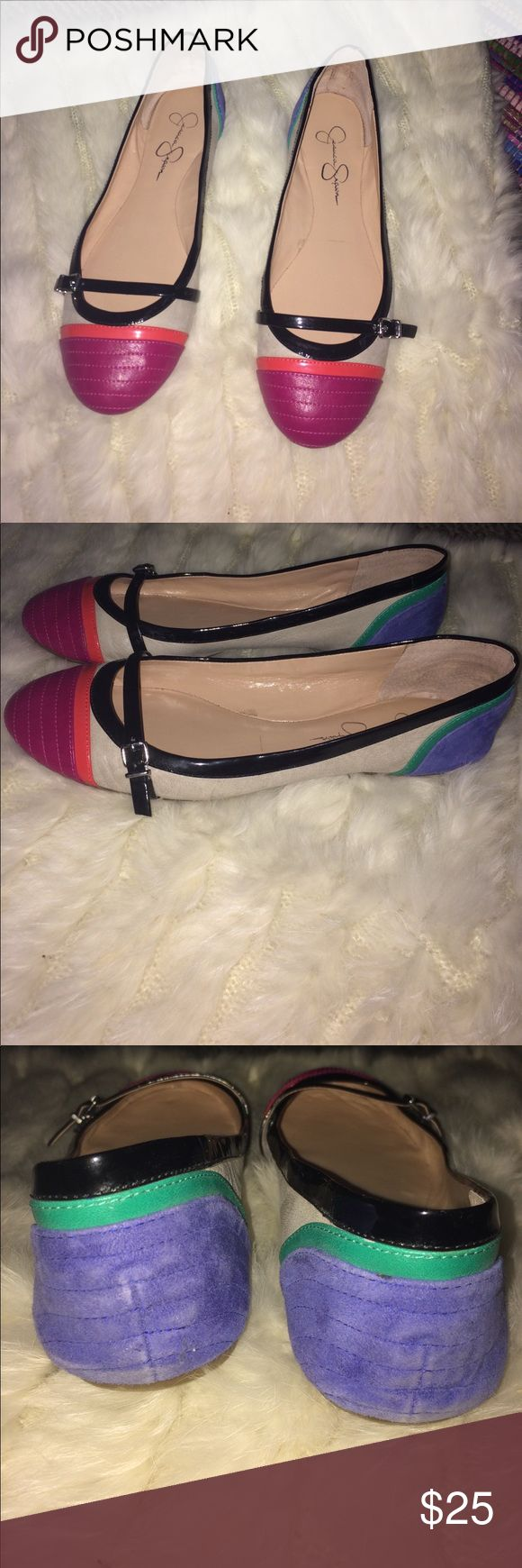 🔥🔥PRICE DROP 🔥🔥Jessica Simpson flats Beautiful multi color Jessica Simpson flats pre-loved in good condition ⭐️ Jessica Simpson Shoes Flats & Loafers