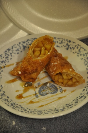 Apple Cinnamon Egg Rolls with Brown Butter Caramel Sauce