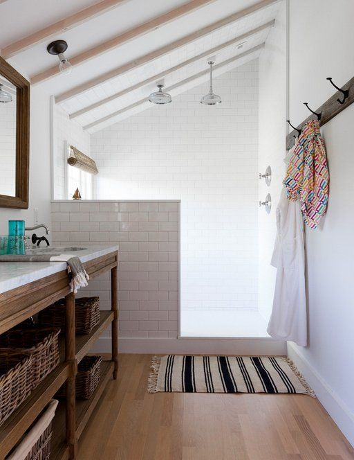 Set Your Shower Free! Open Shower Renovation Inspiration - interesting half shower wall