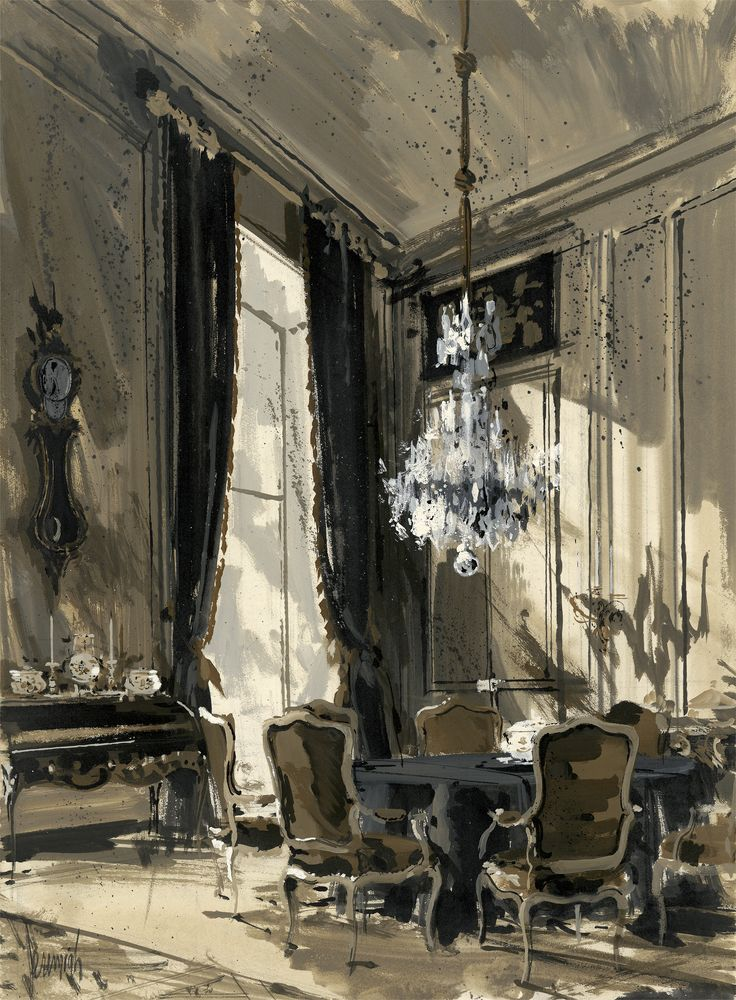 Carlos de Beistegui's dining room in Paris, 1960. (Appeared on the cover of an interior design magazine cover.) Illustration: Jeremiah Goodman.