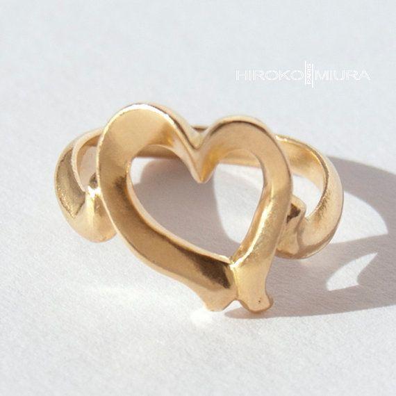 "Bague petit coeur ""Courage"" sgm Or jaune Création HIROKO MIURA design, fait main, mariage, fiançaille, alliance, hmp, made in france, japon"