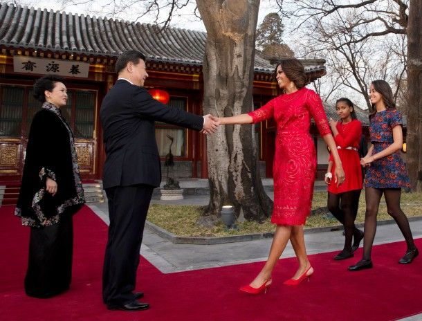 First Lady Michelle Obama Greeted by Chinese President