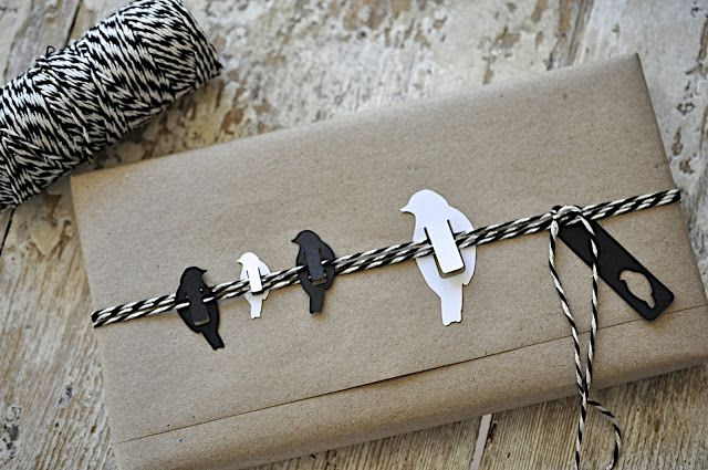 little birds on a wire - these look like they'd make good bookmarks too! - black and white packaging with baker's twine and kraft paper