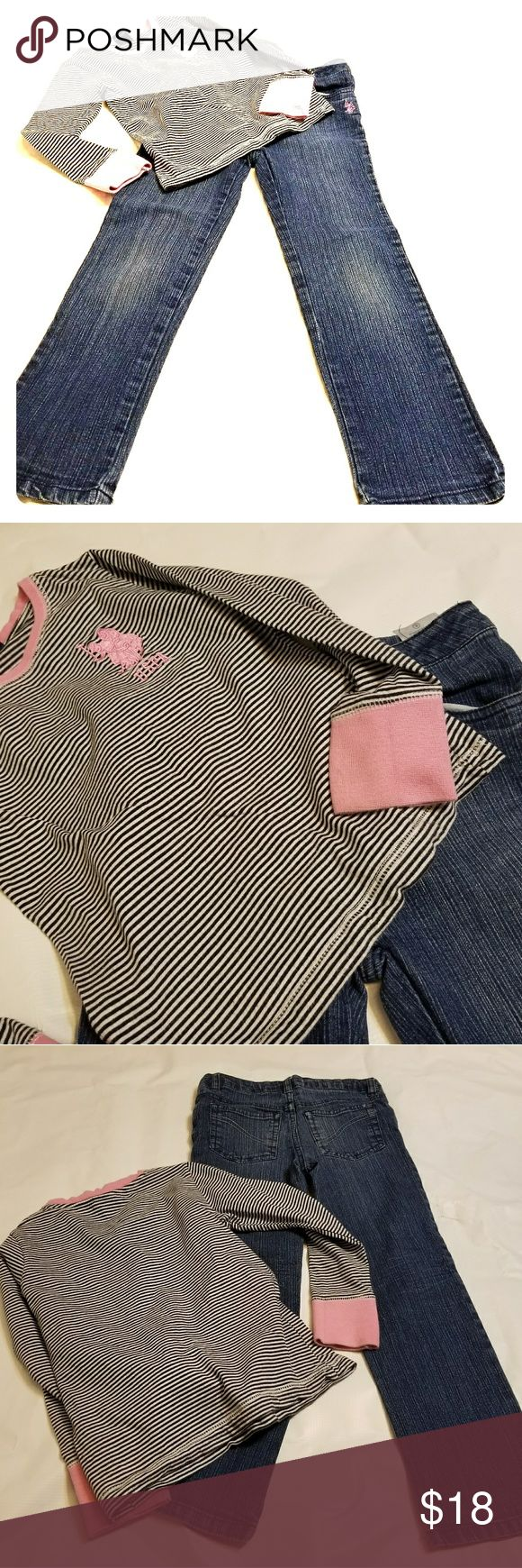 Girls polo ralp lauren long sleeve with jeans Girls size 7 Polo Ralph Lauren outfit, includes long sleeve grey stripe shirt with pink trim, also a pair of dark denim jeans with mild acid fade look. Out fit looks great. Polo by Ralph Lauren Bottoms Jeans