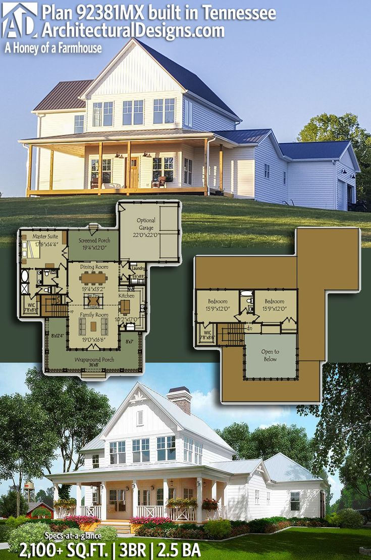 architectural designs farmhouse plan 92381mx client built in tennessee gives the owners 3 beds - Architectural Designs Com