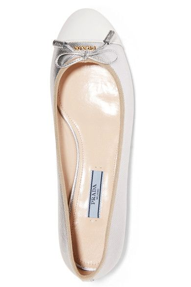 Prada - Metallic Textured And Patent-leather Ballet Flats - Silver - IT36.5