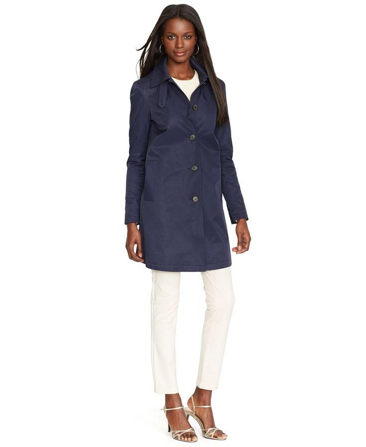 navy Ralph Lauren raincoat.